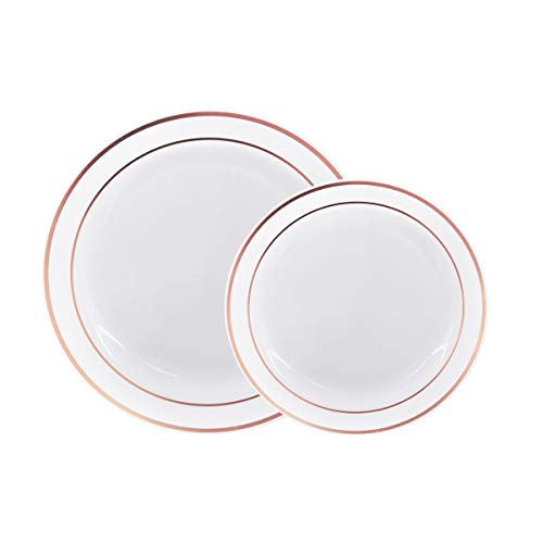"60 Pack Disposable Plastic Plates-30 x 10.25"" Dinner Plates & 30 x 7.5"" Salad Plates Combo, Rose Gold Rim Real China Design - Premium Heavy Duty for Party & Wedding"