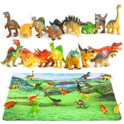 Dinosaur Toys and Play Mat, 18 Pieces Educational Realistic Dinosaur Figures and 15.5