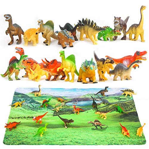"""Dinosaur Toys and Play Mat, 18 Pieces Educational Realistic Dinosaur Figures and 15.5"""" x 23.5"""" Playmat, Plastic Dinosaurs Figurines Playset, Dinosaur Party Supplies, Party Favors"""