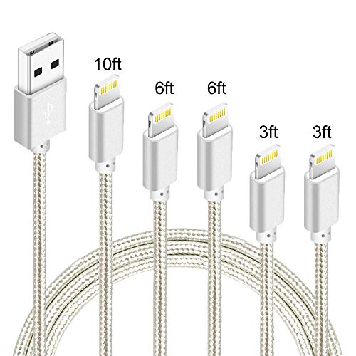 IDiSON 5Pack(3ft 3ft 6ft 6ft 10ft) iPhone Lightning Cable Apple MFi Certified Braided Nylon Fast Charger Cable Compatible iPhone Max XS XR 8 Plus 7 Plus 6s 5s 5c Air iPad Mini iPod (Silver)