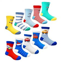 Amazon Coupon Discount Deal: Muyubei Kids Boys Fashion Cute Colorful Cotton Crew Baby Socks,10 Pairs(FBA)