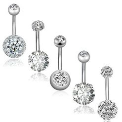 Amazon Coupon Discount Code Deal: REVOLIA 5Pcs 14G Stainless Steel Belly Button Rings for Women Girls Navel Rings CZ Body Piercing S