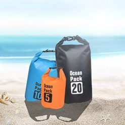 VI-CO 3 Bag Set - Lightweight Waterproof Dry Bag 5L/10L/20L Roll Top Sack Keeps Gear Dry for Kayaking, Rafting, Boating, Swimming, Camping, Hiking, Beach, Fishing