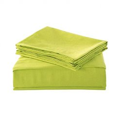 HollyHOME 1500 Soft Hypoallergenic Brushed Microfiber Bed Sheet Set, 3 Pieces Twin Size Sheets, Lime Green Amazon Coupon Discount Code Deals