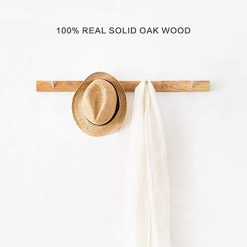 INMAN Wall Mounted Coat Rack/Rail Solid Oak Wood Hook for Coat Clothes Hats Key Towels Hanger- Wooden Peg Rack Metal Liberty Hooks Rail Holder for Bedrooms Bathrooms Hallways Entryway (4 Hooks)