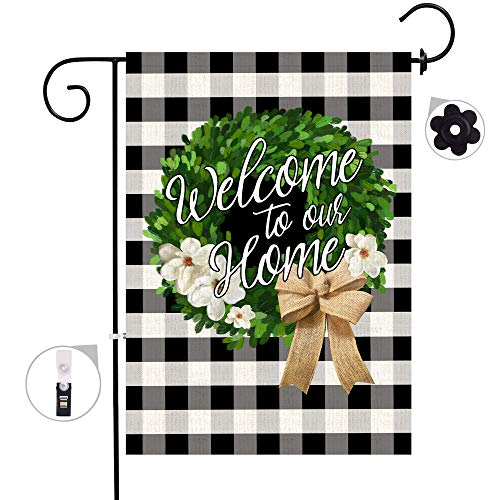 Bonsai Tree Welcome Boxwood Wreath Small Burlap Garden Flag, Double Sided Buffalo Plaid House Flags, Welcome to Our Home Banners Farmhouse Yard Outdoor Decor 12.5 x 18 Prime