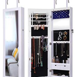 Ylu Yni Armoire Jewelry Box 6 LEDs Wall Jewelry Cabinet Lockable Hanging Door Jewelry Armoire with 2 Drawers YK-D18010 (White)