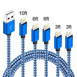 Amazon Coupon Discount Code Deal: IDiSON 5Pack(3ft 3ft 6ft 6ft 10ft) iPhone Lightning Cable Apple MFi Certified Braided Nylon Fast Charger Cable Compatible iPhone Max XS XR 8 Plus 7 Plus 6s 5s 5c Air iPad Mini iPod (Blue White)