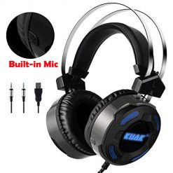 Amazon Coupon Discount Code Deal: KUAK X3 Gaming Headset with Mic for Xbox One PS4 PC,Over Ear Bass Stereo Gaming Headphones with Noise Cancelling, Volume Control, Flexible Headband and 7Color LED Light, 3.5mm Plug for Computer/Laptop