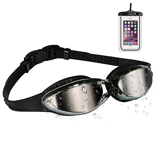 Shadowsport Swim Goggles with Waterproof Phone Pouch, Swimming Goggles No Leaking Anti Fog UV Protection Triathlon Swim Goggles with Free Protection Case for Adult Youth Men & Women (Black)