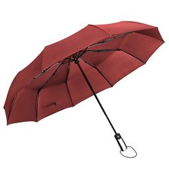 Travel Automatic Umbrella Windproof Compact One Touch Open/Close Mechanism Long 13IN (Red)