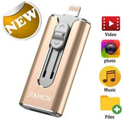 USB Flash Drive Photo Stick for iPhone Flash Drive 128GB JIAHCN iPhone External Storage USB 3.0 Mobile Memory Stick for iPhone,Android,PC Photo iPhone Picture Stick (Gold)