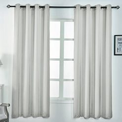 Mr.Ding Imitation Silk Curtains for Bedroom 2 Panels 84 Inches Long Living Room Curtains Grommet Curtains Window Drapes Beige