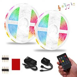 LED Strip Lights, PATIOPTION 32.8FT 20Key RGB Light Strips, Music Sync Color Changing, Rope Light SMD 5050 LED Ligh, IR Remote Controller Flexible Strip for Home Party Bedroom DIY Party Indoor Outdoor
