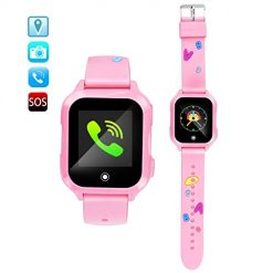 ZOPPRI Kids smartwatch, IP67waterproof Smart Watch for Children Kids Phone Watch, GPS Smart Watch is fit for 3-14 Ages Girls Boy,Smart Watches1.44inch Touch Screen Camera SOS wacthes((Pink))
