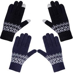 2 Pairs Womens Winter Warm Cable Knit Gloves, Phone Texting Touch Screen Mittens