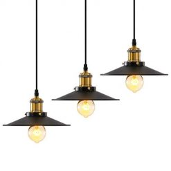 Industrial Pendant Light 3 Pack Island Ceiling Lights Fixture with Adjustable Height Vintage Barn Hanging Lamp Mini Pendant Lights for Dining Room, Kitchen, Restaurant, Bar (Black, Iron)