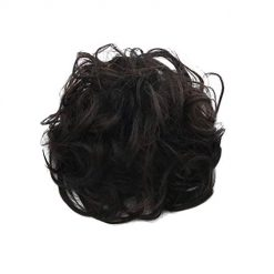 hair extensions wavy curly messy bun hair piece Ombre Colorful glueless hair pieces for Women (Black) 1