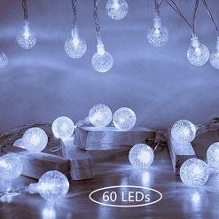 Ollny Globe String Lights 33ft 60 LEDs Cool White Plug in for Christmas Bedroom Indoor Outdoor Fairy String Lights with Remote and Timer for Wedding Party Garden Decoration Waterproof NOT CONNECTABLE