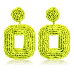 Beaded Bohemian Earrings Square Drop Dangle Statement Boho Earrings for Women Girls (Fluorescent green)