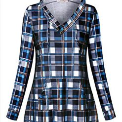 Tanst Womens Long Sleeve Plaid Hoodie Sweatshirts Tunic with Kangaroo Pocket (X-Large, Blue Plaid)