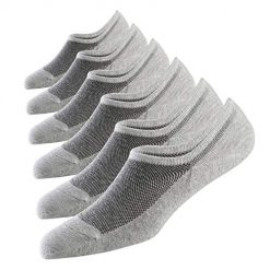 Best4ydeal Men's No Show Socks Natural Cotton 6 Pairs Pack Non Slip Low Cut Invisible Sock Size 10-12 (6 Grey, 10-12)