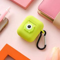 Haiyin Cartoon Design with Keychain Compatible for AirPods Case 2 & 1 Premium Silicone Protective Cover with Cartoon Logo (Mike Wazowski Green)