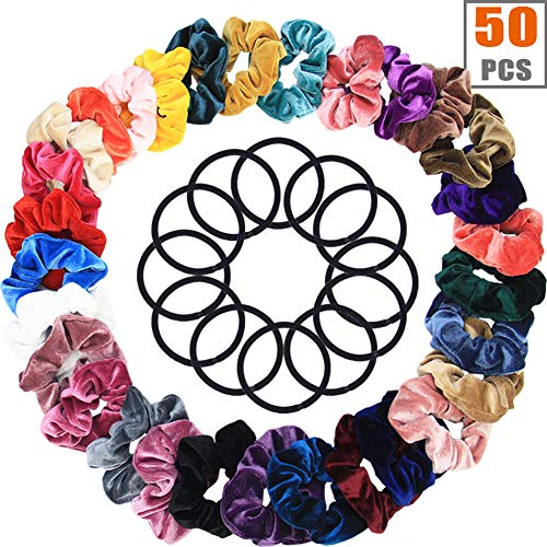 50 Pcs Hair Scrunchies Velvet Elastic Hair Bands Scrunchies Hair Ties Ropes Scrunchies for Women or Girls Simple Charm Style Hair Accessories - (30 Hair Scrunchies +20 Hair Ties )