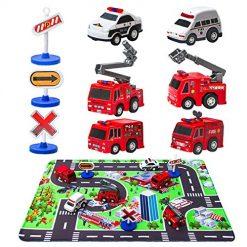 Fire Truck Toys with Play Mat, 6 Fire Engines, 3 Road Signs, 14