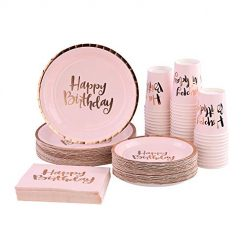 Ottin Pink Happy Birthday Party Packs for 50 Guests, Rose Gold Foil Paper Plates and Napkins Set, Perfect for Birthday, Anniversary, Party Supplies (Happy Birthday Paper Dinnerware, 50 Guests). Amazon Coupon Discount Code Deals