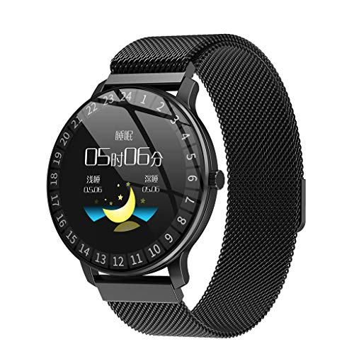 Smartwatch You Can text On For Iphone, Aiouski Smart Watch for Men Women, 1.3 inch IPS Round Screen, Bluetooth Pedometer, Compatible with iOS and Android Leather Strap (F)