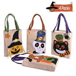 Xflyee Halloween Tote Bag Reusable Trick or Treat Bag Pumpkin Candy Bags Trick or Treat Goody Bag for Children Halloween Themed Party Set of 4