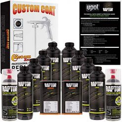 Best Truck Bed Liner At Amazon, U-POL Raptor 8 Quart Kit - Black Urethane Spray-On Truck Bed Liner Kit with Custom Coat Spray Gun with Regulator - Bonus 2 Bedliner Aerosol Cans
