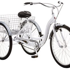 Best bike with three wheels At Amazon. Schwinn Meridian Adult Tricycle with 26-Inch Wheels in White, with Low Step-Through Aluminum Frame, Front and Rear Fenders, Adjustable Handlebars, Large Cruiser Seat, and Rear Folding Basket
