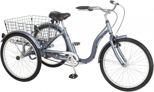 Best Bikes With 3 Wheels For Adults At Amazon. Schwinn Meridian Adult Tricycle with Wheels in Maroon, with Low Step-Through Aluminum Frame, Front and Rear Fenders, Adjustable Handlebars