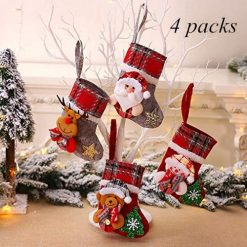 XMYIFOR 4 pcs Christmas Stockings Kits Xmas Socks Tree Ornament Decoration Party Holiday Christmas Santa Claus Home Decor Gift