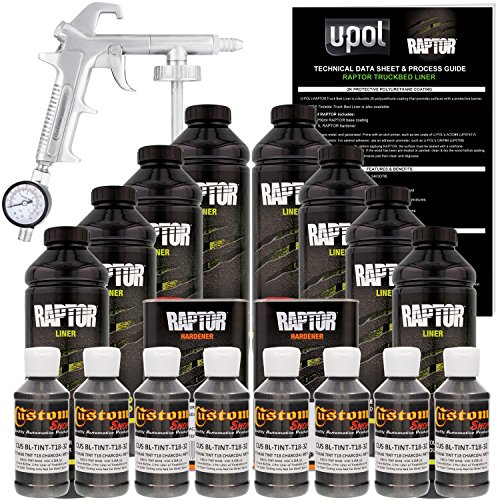 Best Bed Liners For Trucks At Amazon, U-Pol Raptor Charcoal Metallic Urethane Spray-On Truck Bed Liner Kit w/Free Spray Gun, 8 Liters