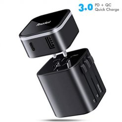 Universal Travel Power Adapter, Amzdest Detachable Travel Adapter with Quick Charge 3.0 & Type-C PD Port, Worldwide International Power Adapter Fast Charge, Travel Plug Adapter for US/UK/EU/AUS