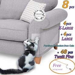 8 Pcs Furniture Protectors from Cats, Cat Scratch Deterrent, Couch Protector 4 Pack X-Large (17