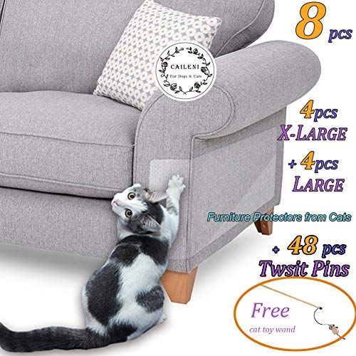 """8 Pcs Furniture Protectors from Cats, Cat Scratch Deterrent, Couch Protector 4 Pack X-Large (17""""L 12""""W) + 4 Pack Large (18""""L 9""""W) Cat Repellent for Furniture, Stop Pets from Scratching Furniture Couch"""