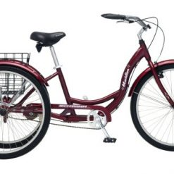 Best Three Wheeler Bicycle At Amazon. Schwinn Meridian Adult Tricycle with 26-Inch Wheels in Maroon, with Low Step-Through Aluminum Frame, Front and Rear Fenders, Adjustable Handlebars, Large Cruiser Seat, and Rear Folding Basket