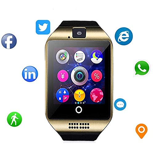 Smartwatch That Can Send Texts, Bluetooth Smart Watch Fitness Tracker - Sport Watch Touch Screen with Camera Pedometer Sleep Monitor Call/Message Reminder Music Player Anti-Lost - Compatible Android Smartwatches (Gold)