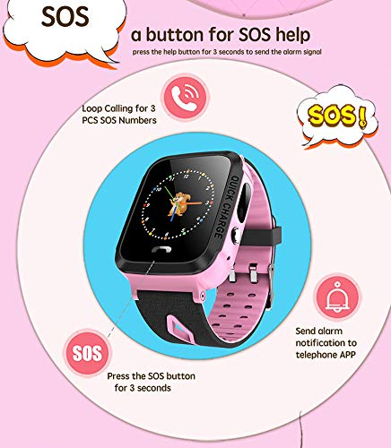Android Smartwatch Send Text Messages, Desirepath Kids Smart Watch Phone GPS Tracker SIM Card SOS Call Smartwatch for Android iOS Touch Screen Camera Phone Watches