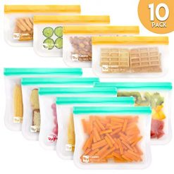 Qinner Reusable Storage Bags-10 Pack (6 Reusable Sandwich Bags+4 Reusable Snack Bags) Ziplock Leakproof Freezer Bag, Plastic Free Food Bags for Sandwich,Snack and Fruits|Travel Baggies