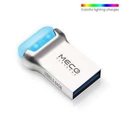 USB Flash Drive, MECO 64GB USB 3.0 Thumb Drive with LED, Waterproof Memory Stick with Keychain and 7 Color's Breathing Light for Smart TV, Laptop, PC