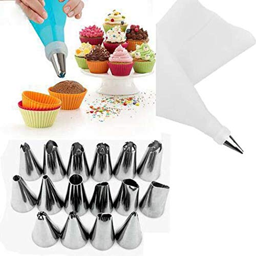 Dethler 18Pcs Baking Tool Stainless Steel Cream Forcing Icing Mounted Set Candy Making Molds White