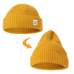 ZOWYA Classic Warm Winter Hats Knit Cuff Beanie Cap Daily Beanie Hat for Men Women Golden
