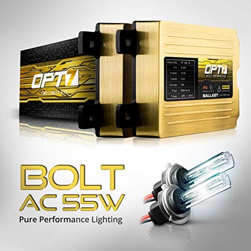 Hid Kit Best At Amazon, OPT7 Bolt AC 55w H7 HID Kit - 5x Brighter - 6x Longer Life - All Bulb Sizes and Colors - 2 Yr Warranty [5000K Bright White Xenon Light]