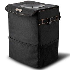 BOLTLINK Car Trash Can with Lid, Car Trash Bag Hanging for Headrest with 3 Storage Pockets, Portable Car Accessories Organizer for Women, with Leak-Proof Vinyl Inside Lining