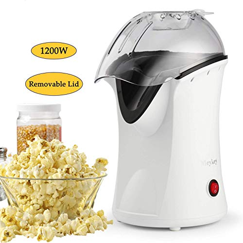Best Hot Air Popcorn Poppers On Amazon. [US STOCK] 1200W Hot Air Popcorn Popper Electric Popcorn Machine Maker with Wide Mouth Design Measuring Cup and Removable Lid (White)